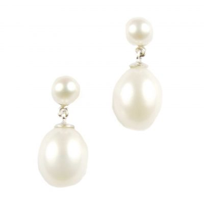 Double Pearl Drop Earrings,White Gold Set