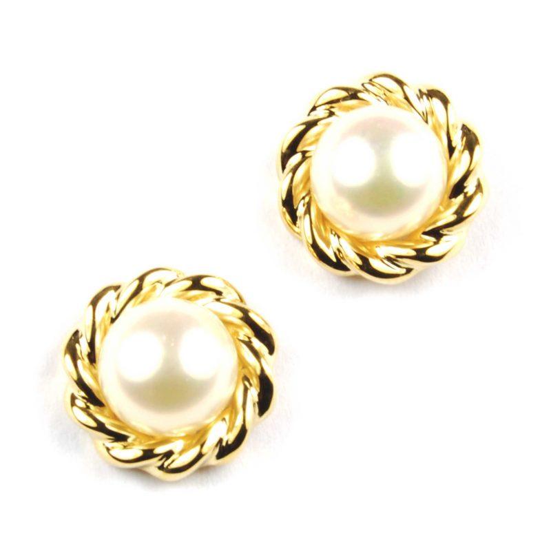 Cultured Pearl & Gold Stud Earrings