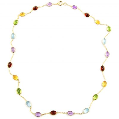 Multi-Coloured Gemstone Necklace - 18""