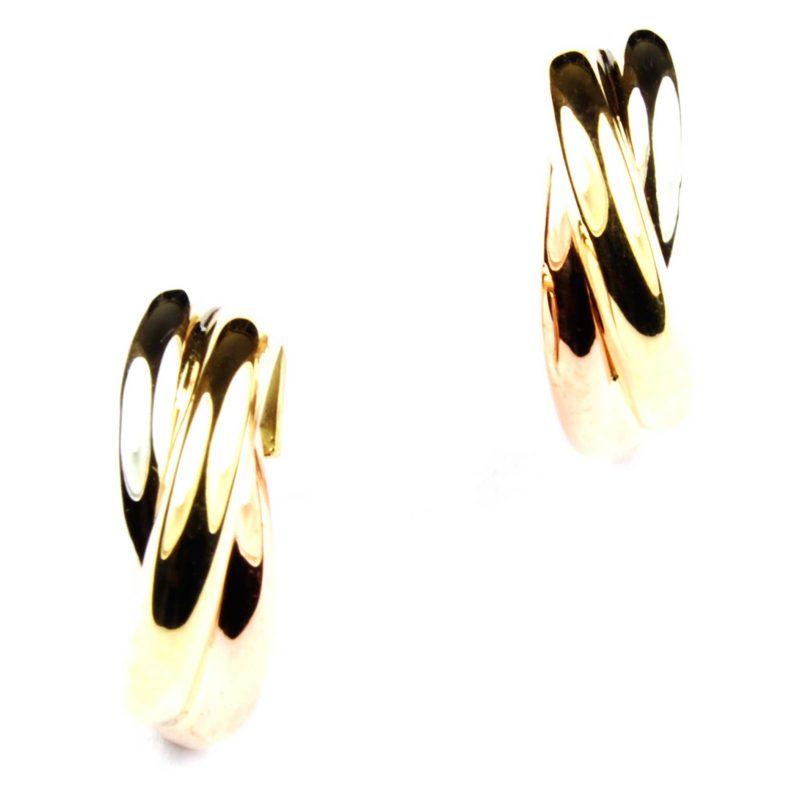 9ct Three Colour Gold Hoop Earrings