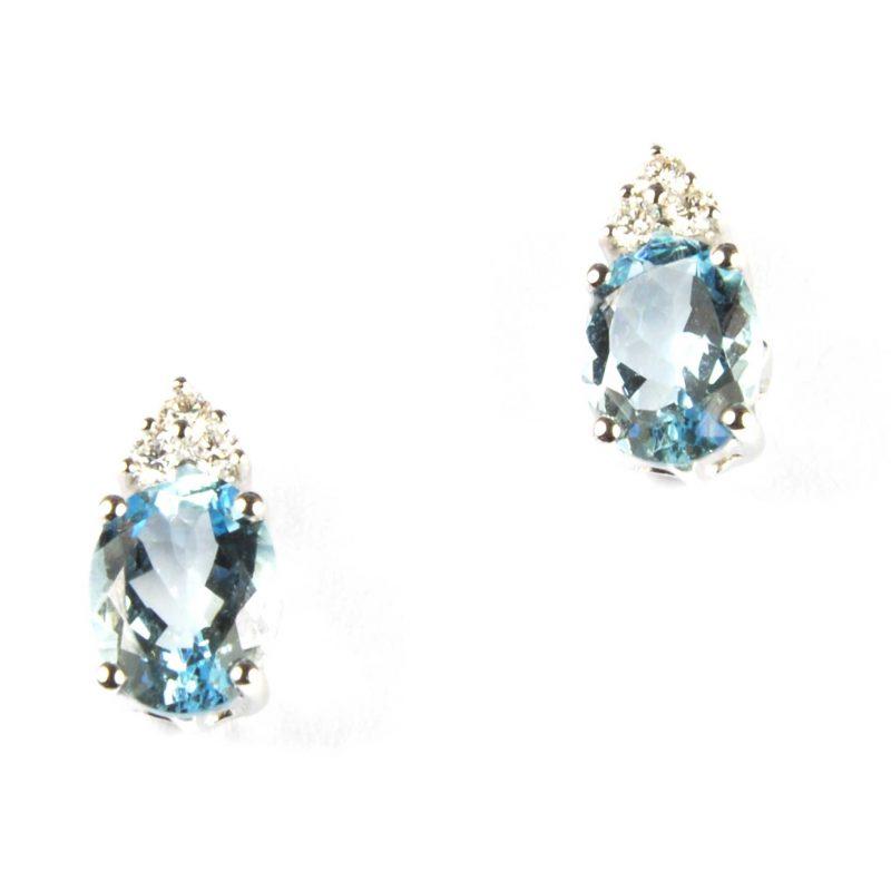 Aquamarine & Diamond Stud Earrings