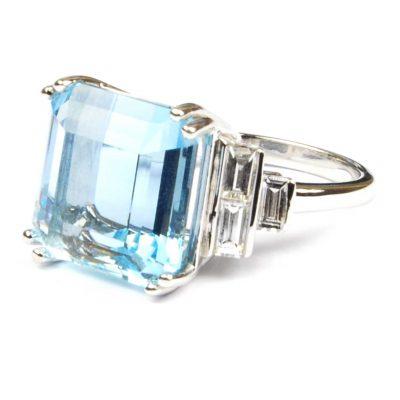 Aquamarine & Diamond Art Deco Design Ring