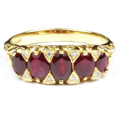 Five Stone Ruby & Diamond Ring