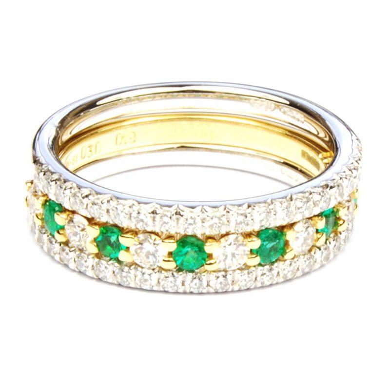 Trio of Emerald & Diamond Half Eternity Rings