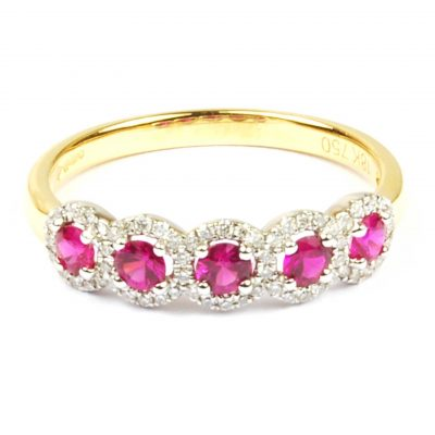 Ruby & Diamond Half Hoop Eternity Ring
