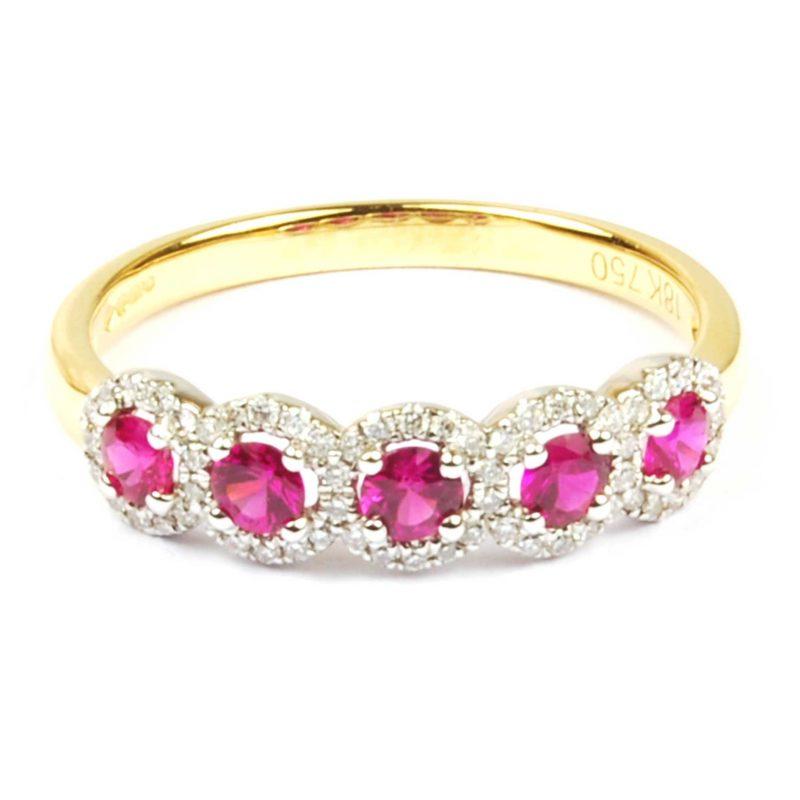 Ruby & Diamond Half Hoop Eternity Ring
