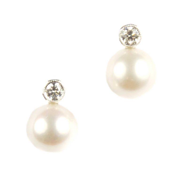 Cultured Pearl & Diamond Stud Earrings