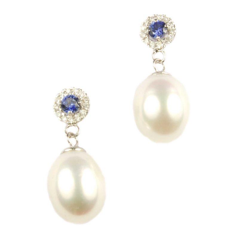 Sapphire & Diamond Cluster & Pearl Drop Earrings