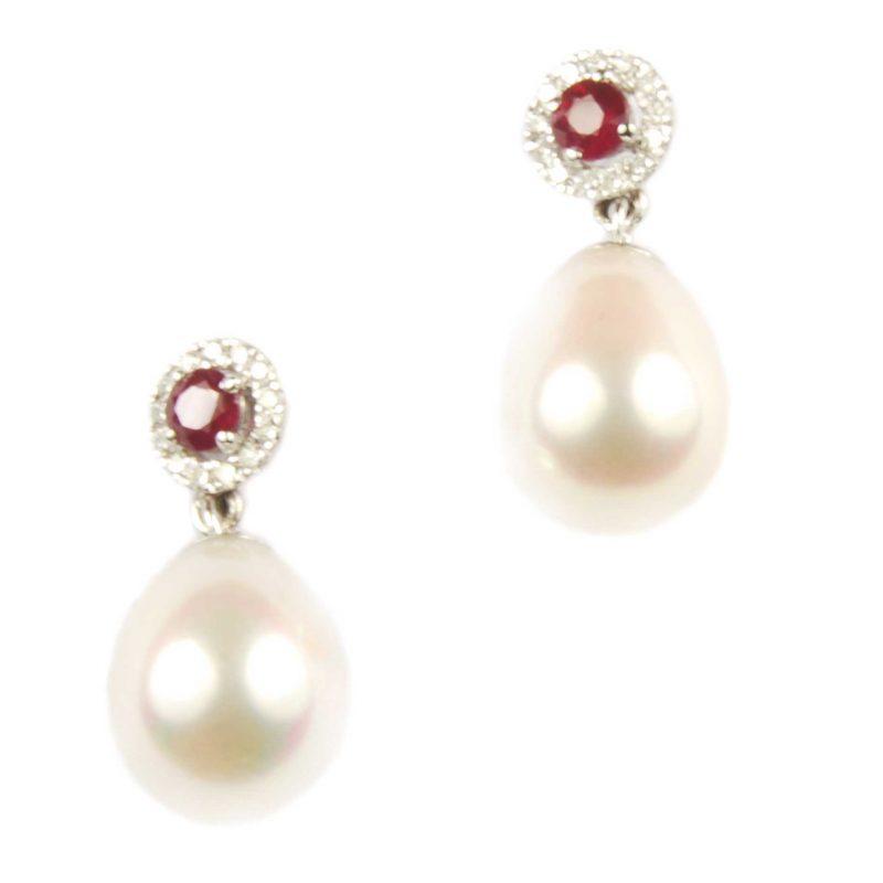 Ruby & Diamond Cluster & Pearl Drop Earrings