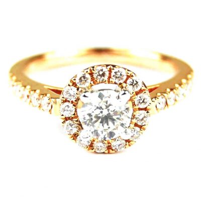 Rose Gold Diamond Set Halo Ring