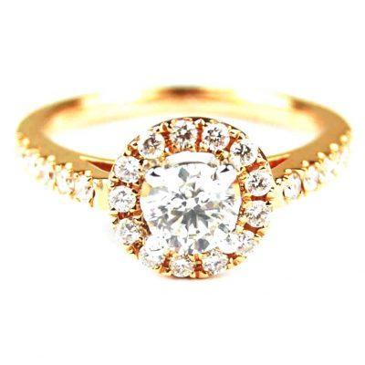 Rose Gold Diamond Set Halo Ring