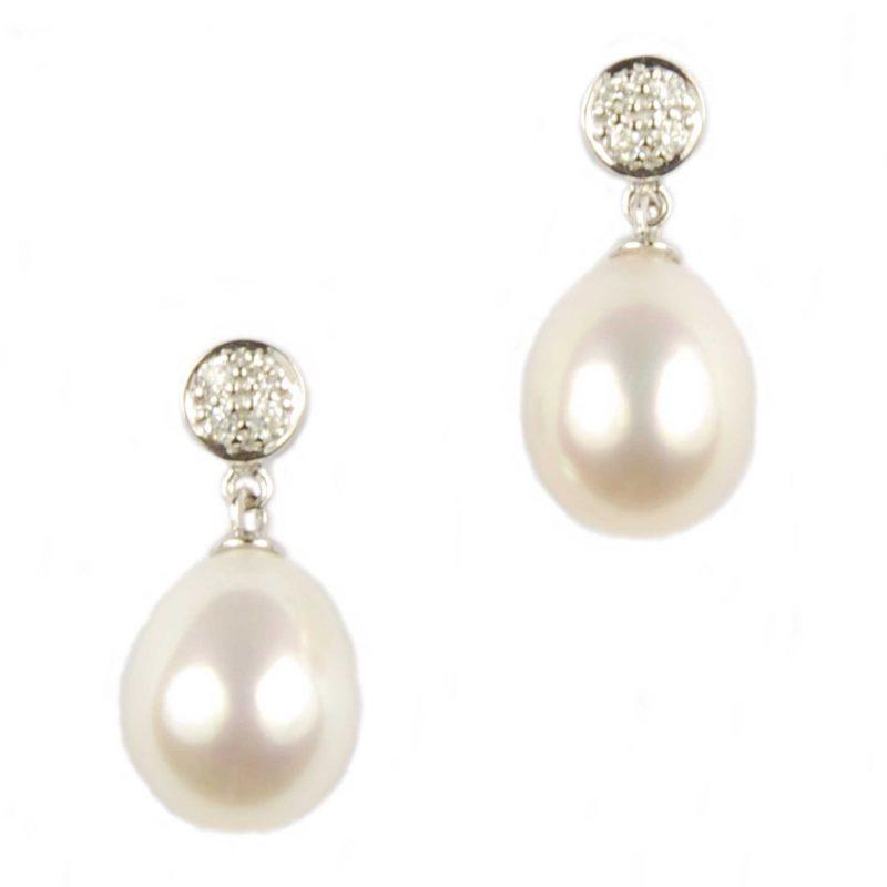Diamond & Freshwater Pearl Drop Earrings