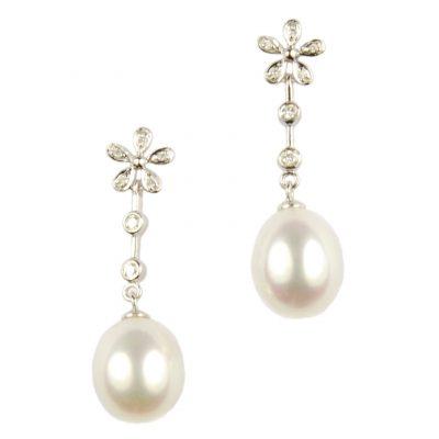 Diamond Set Floral Design Freshwater Pearl Drop Earrings