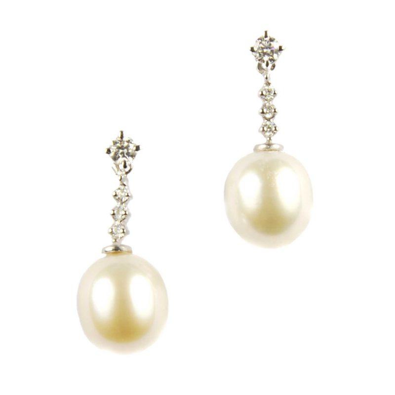 Freshwater Pearl & Diamond Drop Earrings