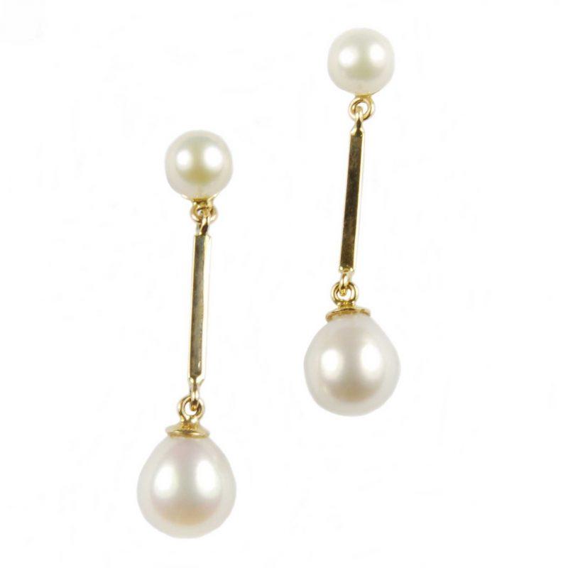 Freshwater Pearl Long Double Drop Earrings On Yellow Gold