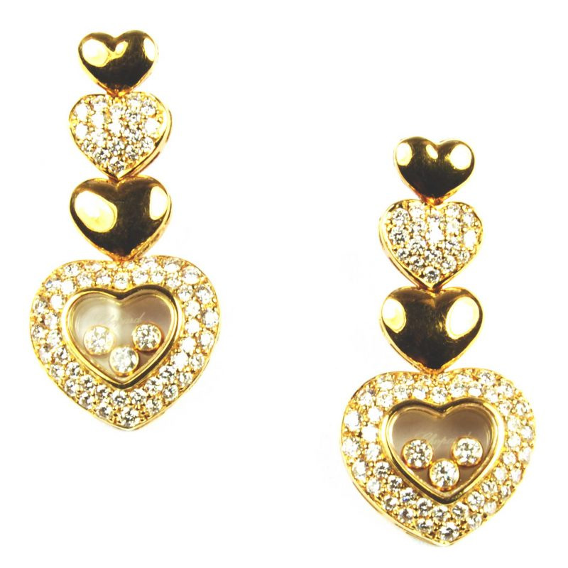 Chopard Happy Diamonds Heart Design Drop Earrings