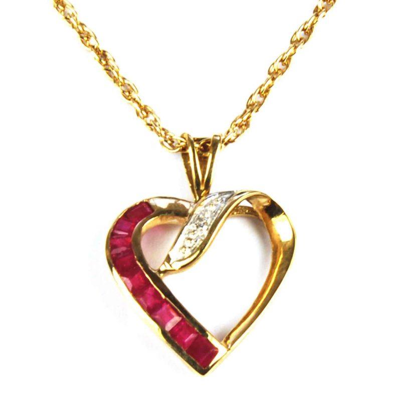 Ruby & Diamond Heart Pendant
