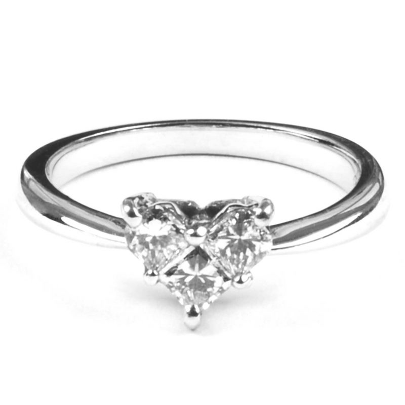 Three Stone Diamond Heart Ring