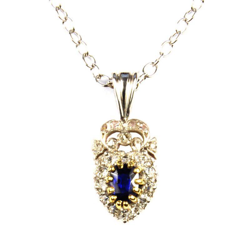 Edwardian Sapphire & Diamond Heart Shaped Pendant