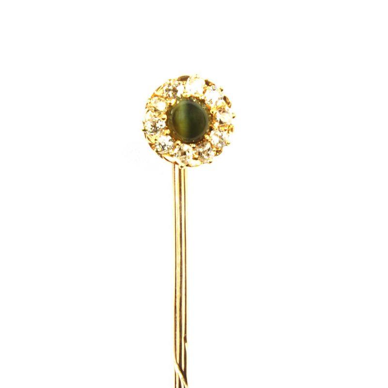 Victorian Cat's Eye Chrysoberyl & Diamond Cluster Tie Pin