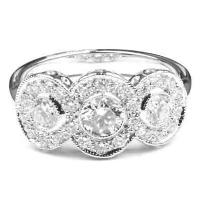 Diamond Set Triple Cluster Ring
