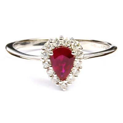 Ruby & Diamond Pear-shaped Cluster Ring