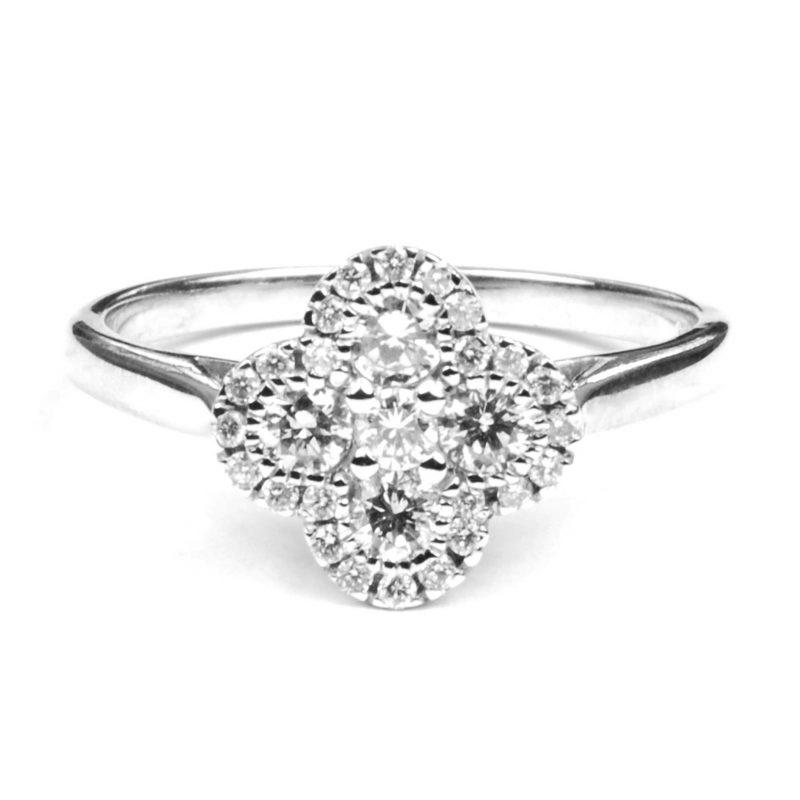 Diamond Set Quatrefoil Ring