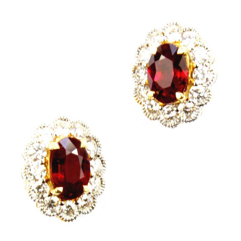 Ruby & Diamond Cluster Earrings