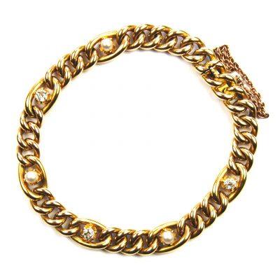 Diamond & Pearl Set Curb Link Bracelet