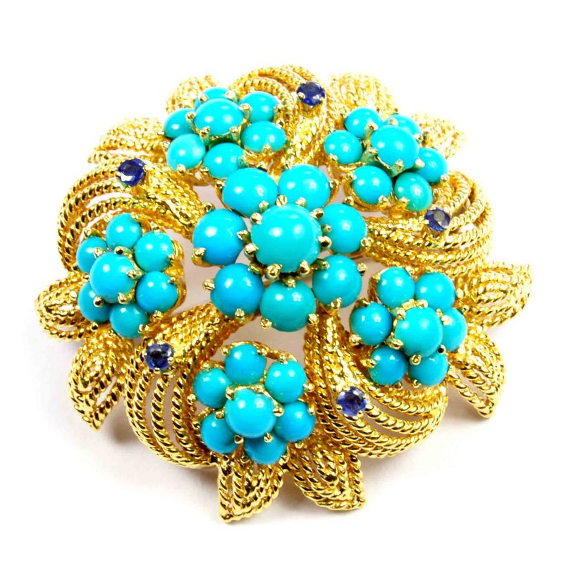 1970's Turquoise & Sapphire Set Gold Brooch